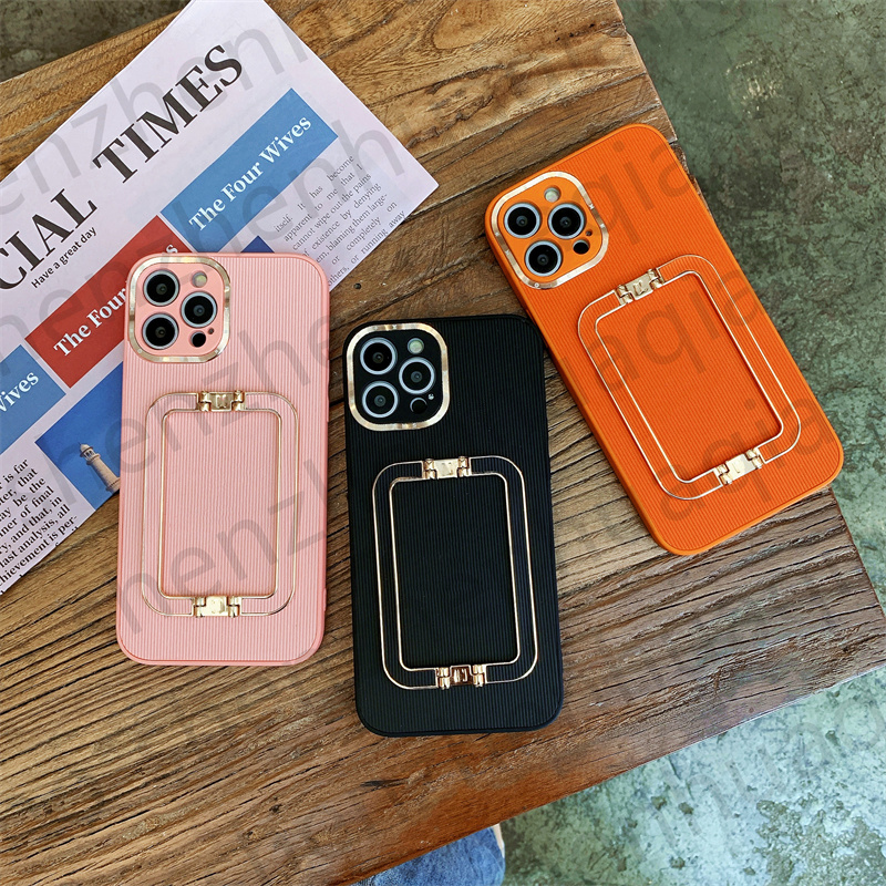 Luxury Vertical Lines Embossing Wristband Kickstand Phone Cases For iPhone 13 11 12 Pro Max XR X XS Plus SE2020 12Pro Full Lens Protection Metal Ring Cover Girl Gift