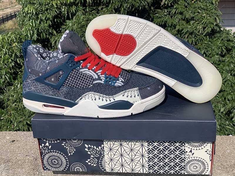 4 SE Sashiko Deep Ocean Sail Cement Grey Fire Red men athletic shoes Jumpman 4s mens sports sneaker trainer