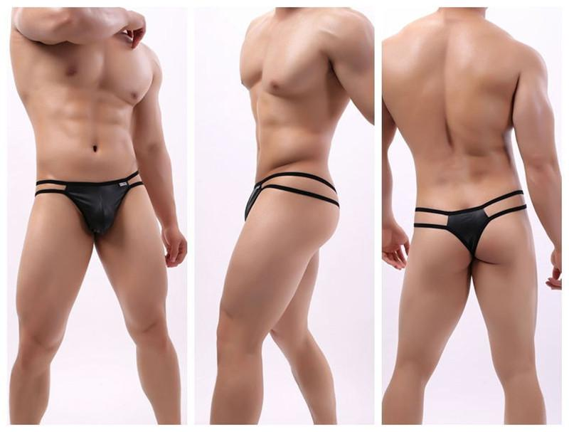 Underpants BRAVE PERSON Man Arrival Sexy Underwear Men Briefs Thongs Fashion Patent Leather Fabric Innovative Design