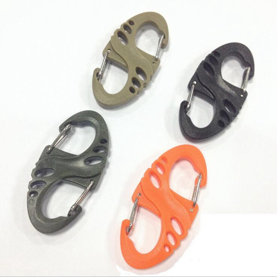 UK 5Pcs Carabiner Clip Hiking Climbing Hook Key Ring Keychain Buckle with Strap