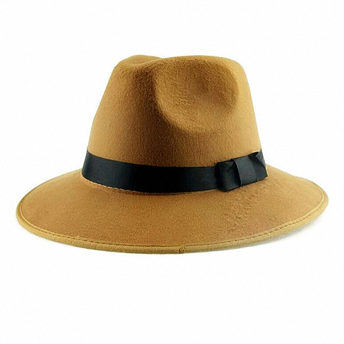 c7ce728ec Wholesale-Vintage Men Women Hard Felt Hat Wide Brim Fedora ...