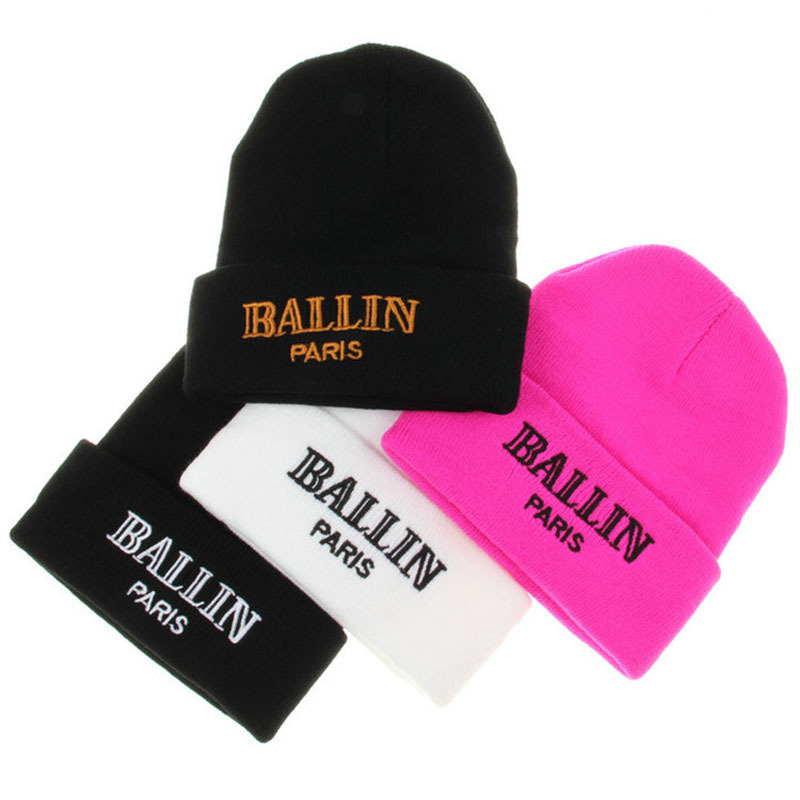 Pink Paris Knit Caps Knit Hats Skull for Mens