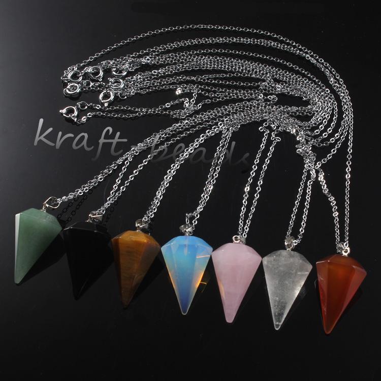 Silver Rose Quartz Rock Crystal Agate Hexagon Pyramid Pendulum Pendant Necklace
