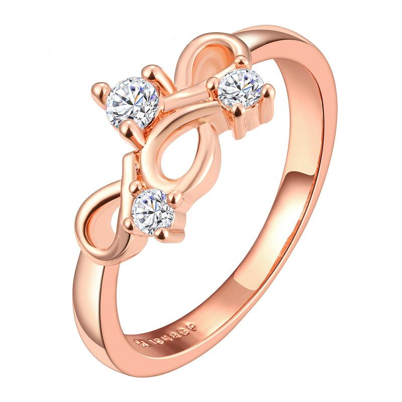 Femmes 14K plaqué or rose Argent sterling Zircone cubique Pave Setting Leaf Design Ring