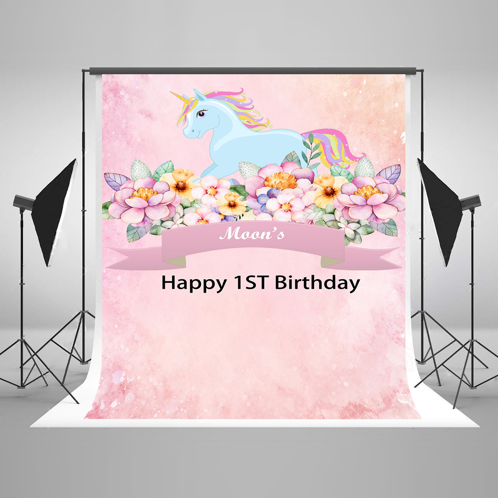 7x10 FT Unicorn Cat Vinyl Photography Background Backdrops,Cute Fantastic Icons for Girls Magical Characters Mythological Mascots Background Newborn Baby Portrait Photo Studio Photobooth Props