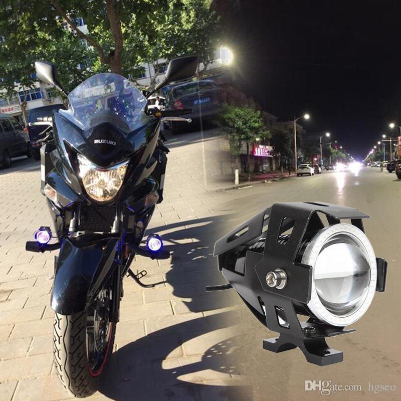 Promotion limitée U7 CREE 125W voiture motos LED antibrouillard 4 cercles de couleur DRL moto phares phares de conduite Spotlight MOT_20A