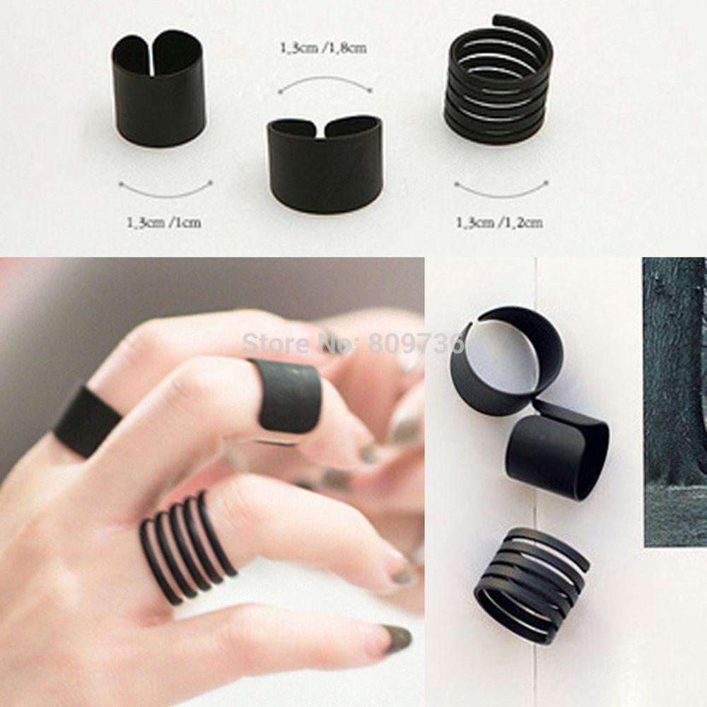 Nuevo 3PCS Negro Punk para Damas Pila Liso sobre nudillo anillo Midi anillos de punta del dedo