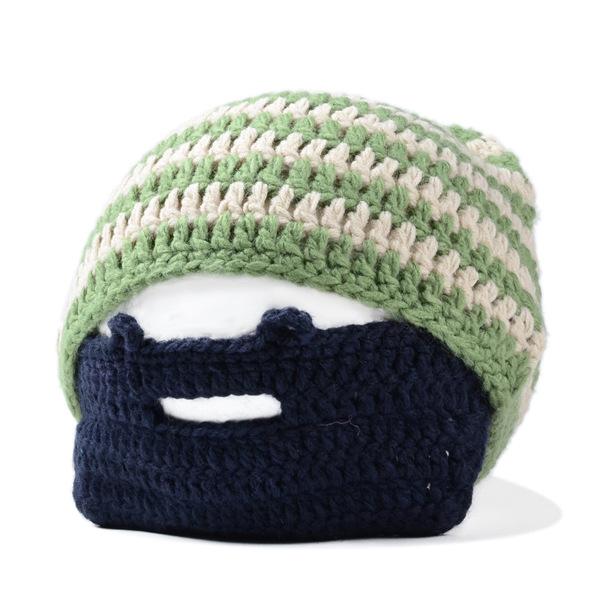 2073cf9da46 Wholesale-Men women vogue winter striped knit ski face mask beanie crochet  beard hats balaclava bonnets ...