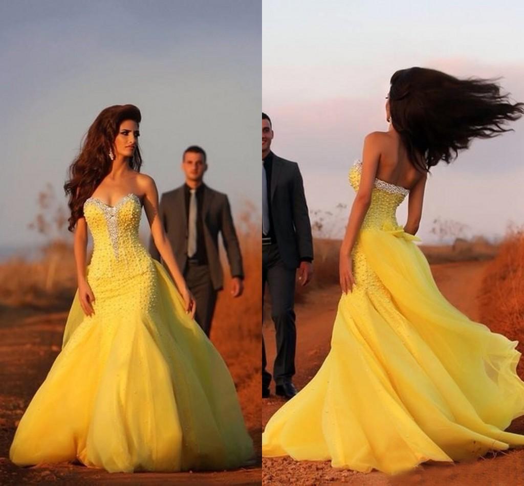 Gelbe Kleider Für Brautzüge Online Großhandel Vertriebspartner