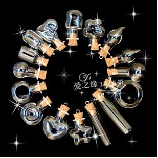 10pc petit clair Souhaitant bouteilles en verre Cork Flacons À faire soi-même Charms Collier Pendentif