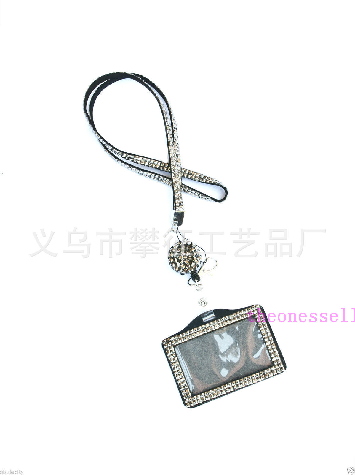 Rhinestone Bling Crystal Lanyard ID Badge Cell Phone Reel Holder Key YD