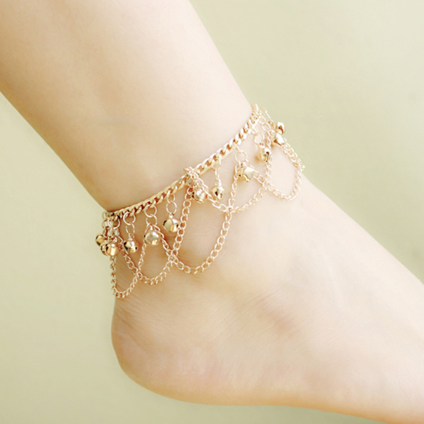 Charm Small Bell Tassel Anklet Chain Ankle Bracelet Foot Jewelry Barefoot Sandal