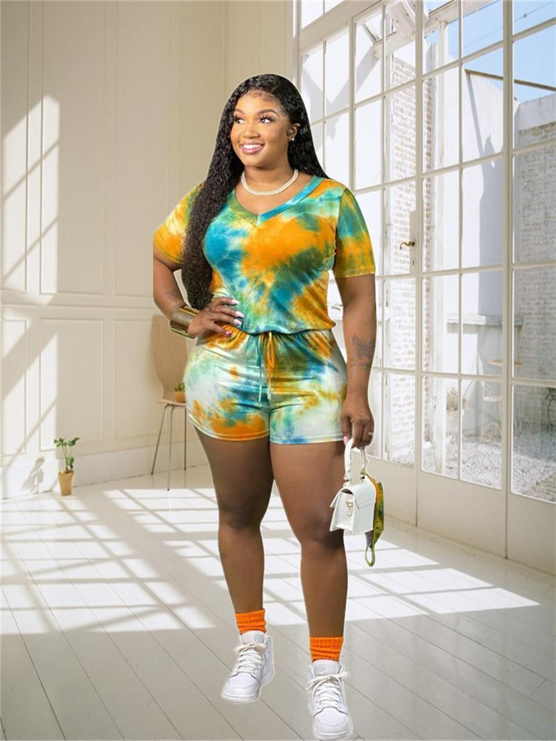 3XL 4XL 5XL Women shorts Jumpsuits plus size tie dye Rompers short sleeve bodysuits Casual loose Overalls Summer clothing bigger sizes 4X 5X pants 4784