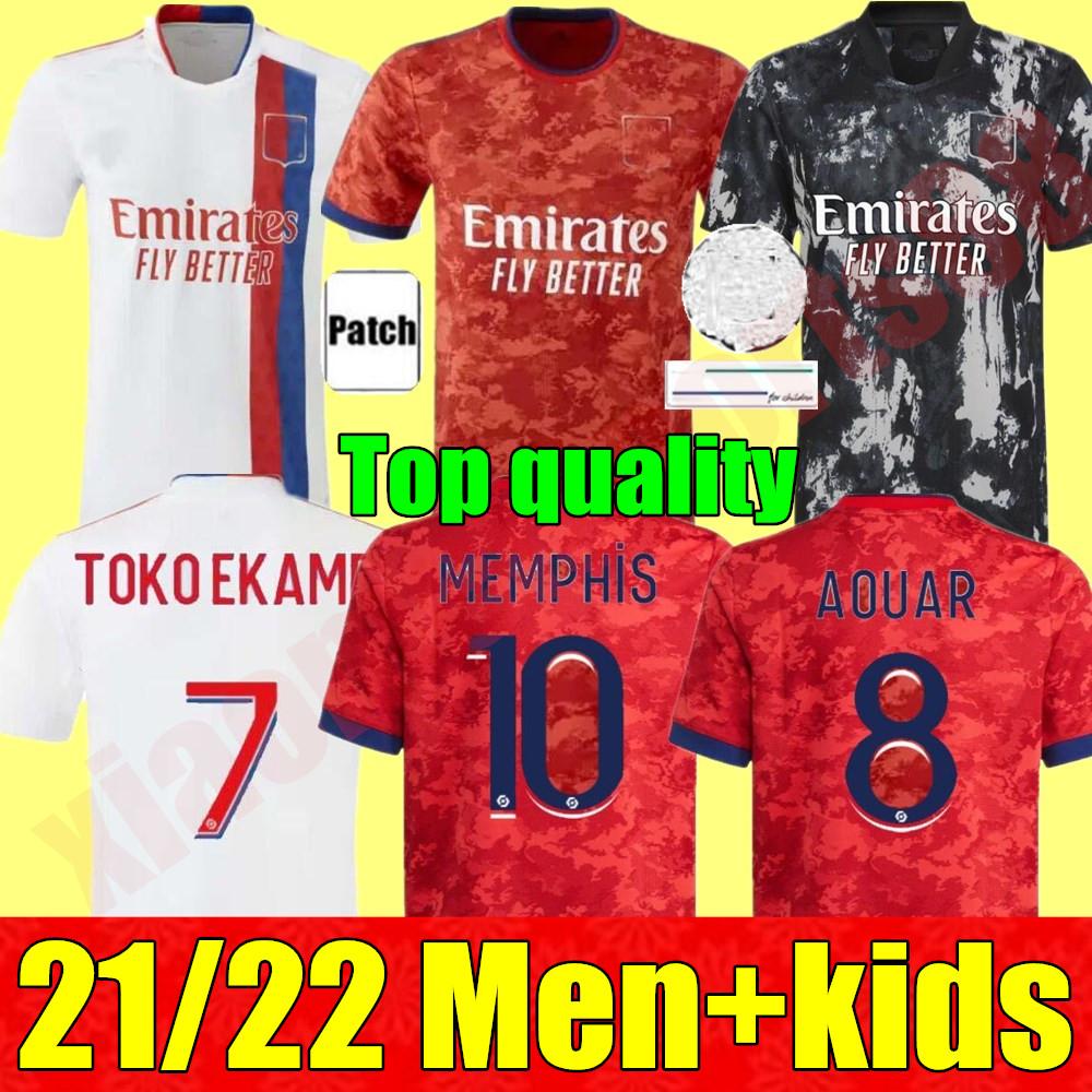 adult Men + kids kit youth 21 22 Olympique Lyonnais soccer jerseys AOUAR DENBELE FEKIR 2021 2022 Lyon maillot de foot TRAORE MEMPHIS child football Shir