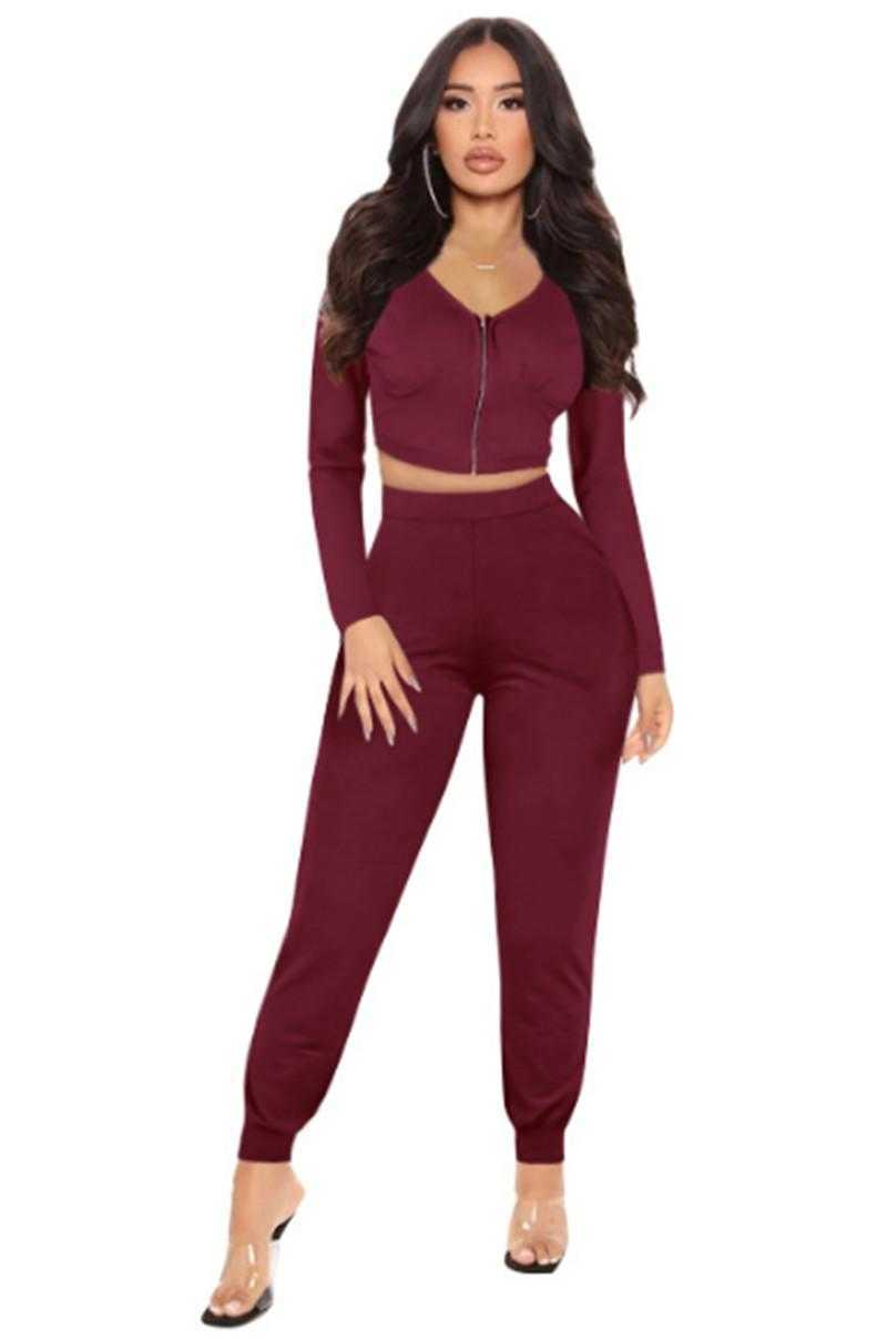 wholesale items jacket sportswear two piece set tracksuits outfits long sleeve trousers sweatsuit pullover tights legging suits klw7394