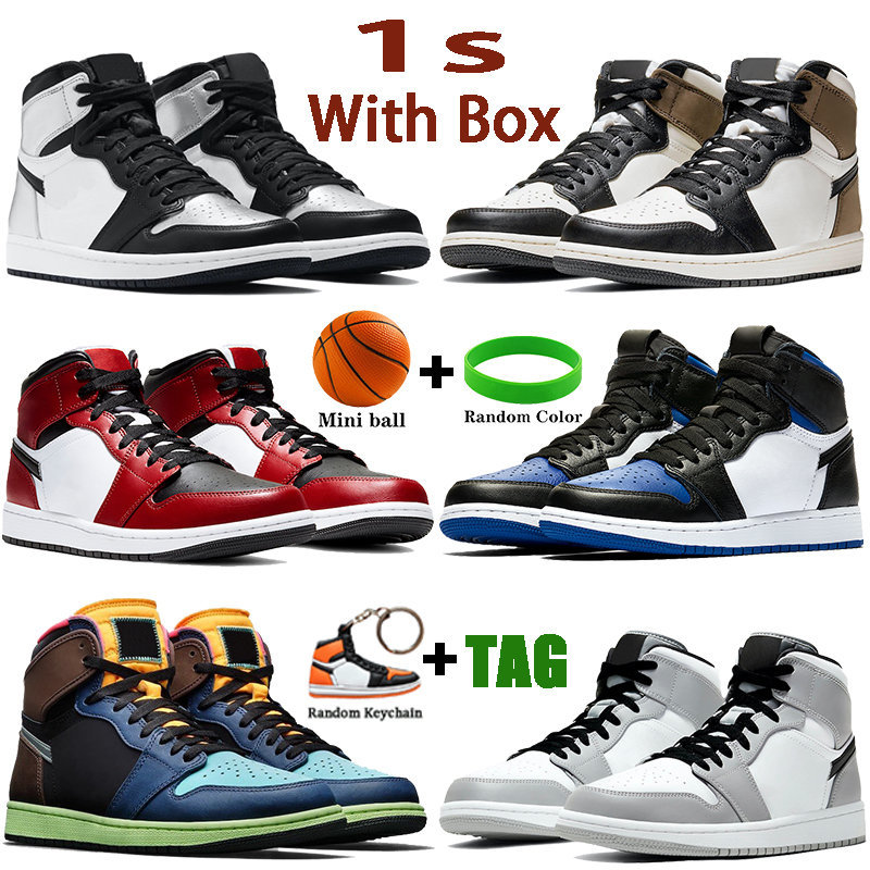 2021 With Box 1 1s Mens Basketball Shoes Dark Mocha Silver Toe Tokyo Bio Hack Mid Light Smoke Grey Unc Patent Men Women Sneakers
