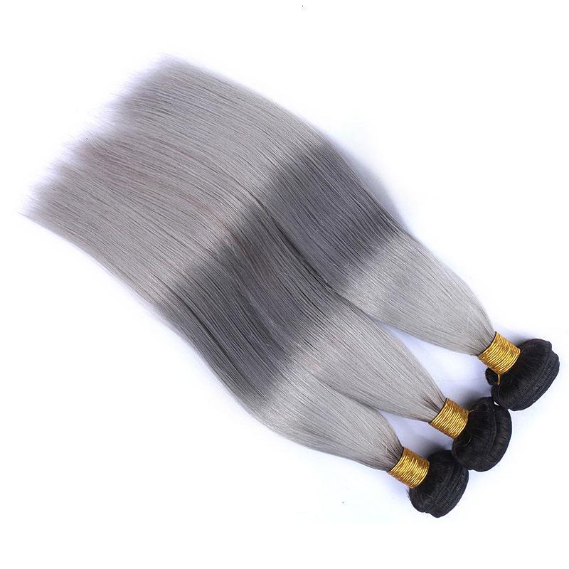 9A 1b/Grey Ombre Brazilian Virgin Human Hair Extensions Ombre Gray Peruvian Malaysian Indian Cambodian Straight Hair Weave Bundles