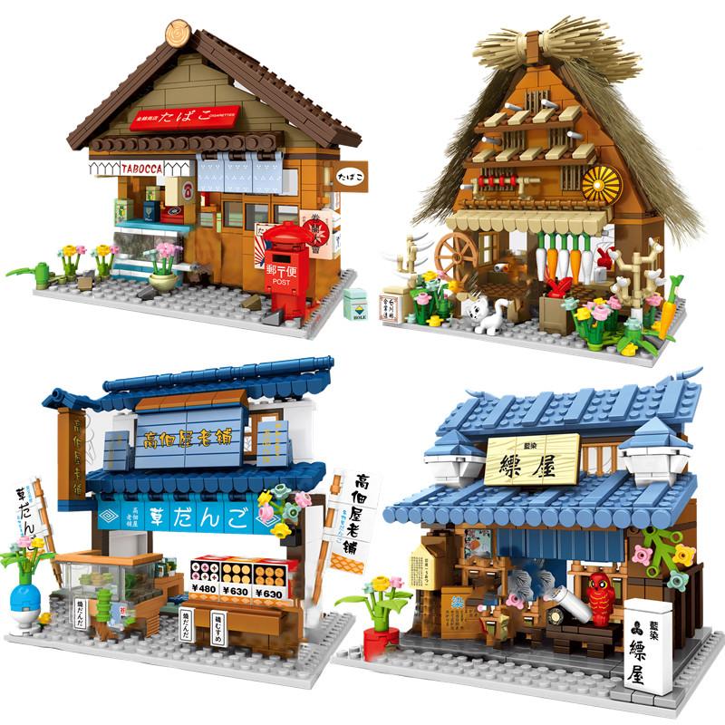 2021 City Creator Japanese Street View Pharmacy Flower Shop Silk Shop Convenience Store Building Blocks Bricks Kids Toys