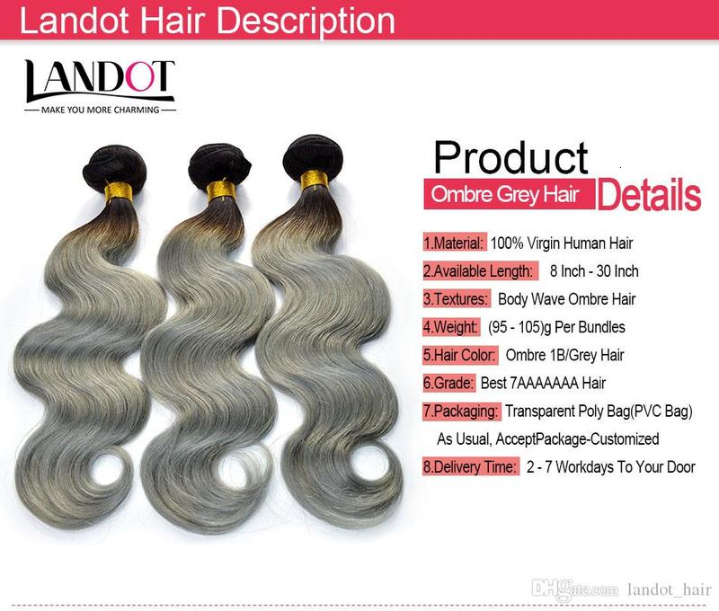 Ombre Silver Grey Brazilian Human Hair Extensions Two Tone 1B/Grey Peruvian Malaysian Indian Cambodian Body Wave Human Hair Weave Bundles