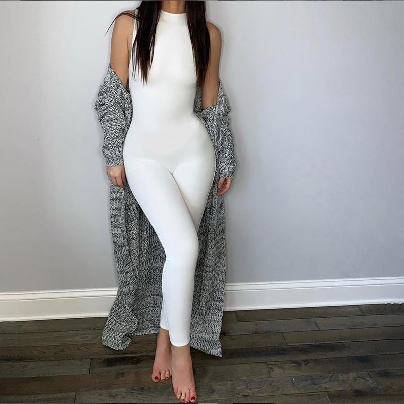 women elastic hight jumpsuits One Piece casual Bodycon Bodysuit fitness sporty rompers sleeveless zipper activewear skinny summer Elegant outfit Jump Suit