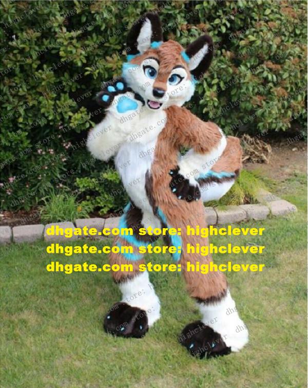 Brown Long Fur Furry Fox Husky Dog Wolf Fursuit Mascot Costume Adult Cartoon Character Cut The Ribbon Sports Events zz7577