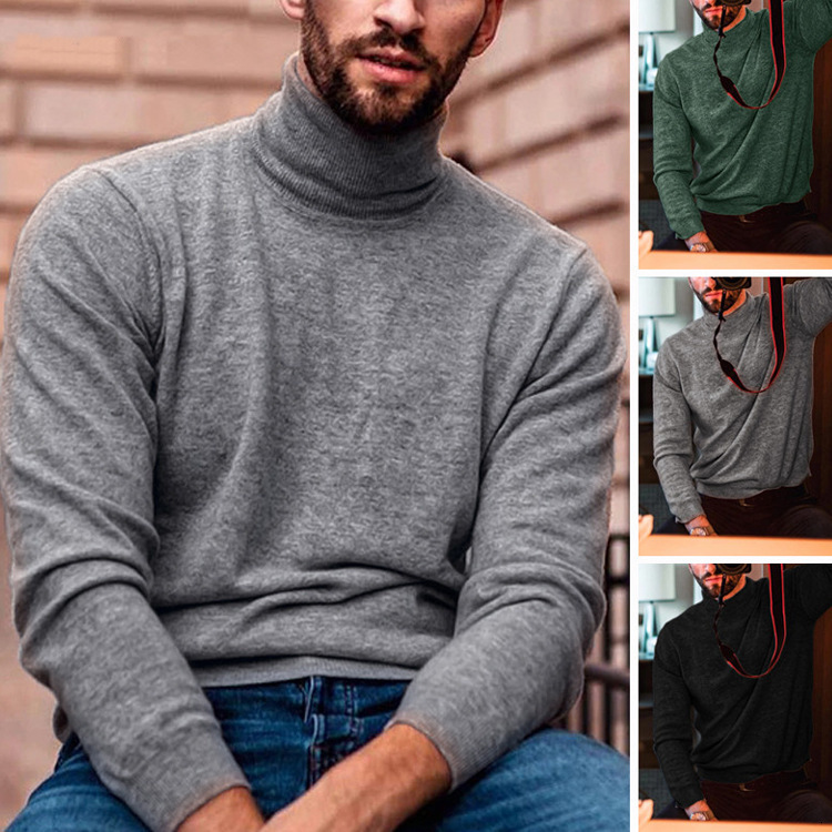 Mens Knitted Sweater Casual Winter Turtleneck Sweater Male Long Sleeves Woolen Shirt Atutumn Men Slim Fit Pullover S-3XL