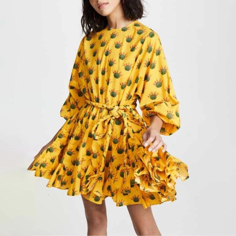 Australian holiday style printed lantern sleeve lace-up pleated loose dress