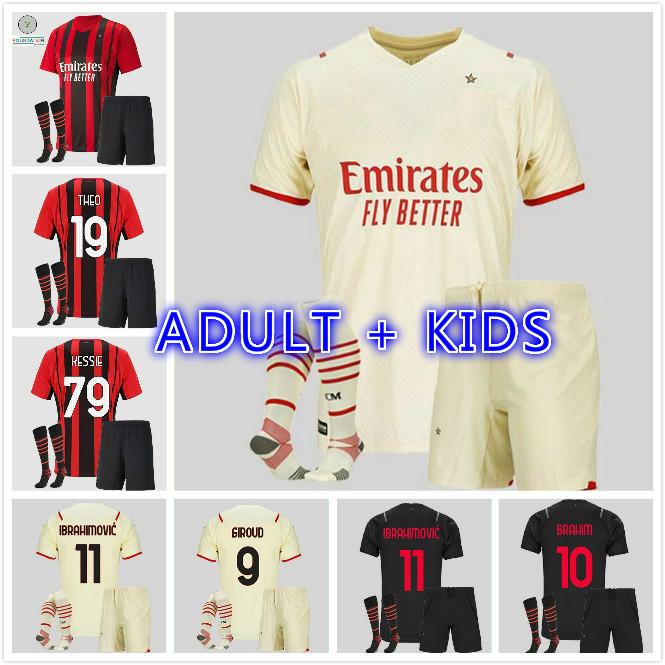 adult kids kit AC 2021 2022 Milan IBRAHIMOVIC home away soccer jerseys 21 22 PIATEK PAQUETA THEO REBIC football shirts youth boys uniforms
