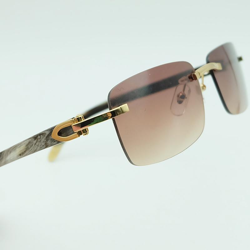 Sunglasses Men Genuine Buffalo Horn Glasses Rimless White Black Buffs Square Women Sunglass Shades Fill Prescription US up 60% Off