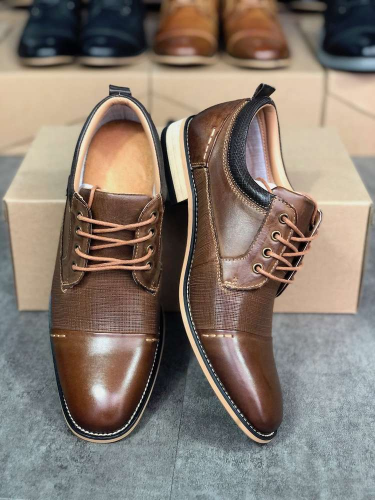 New Arrival Mens Dress shoes Cap toe Business shoes Brown lace-up brogues Shoe Genuine Leather Wedding Patry Shoes US7-13