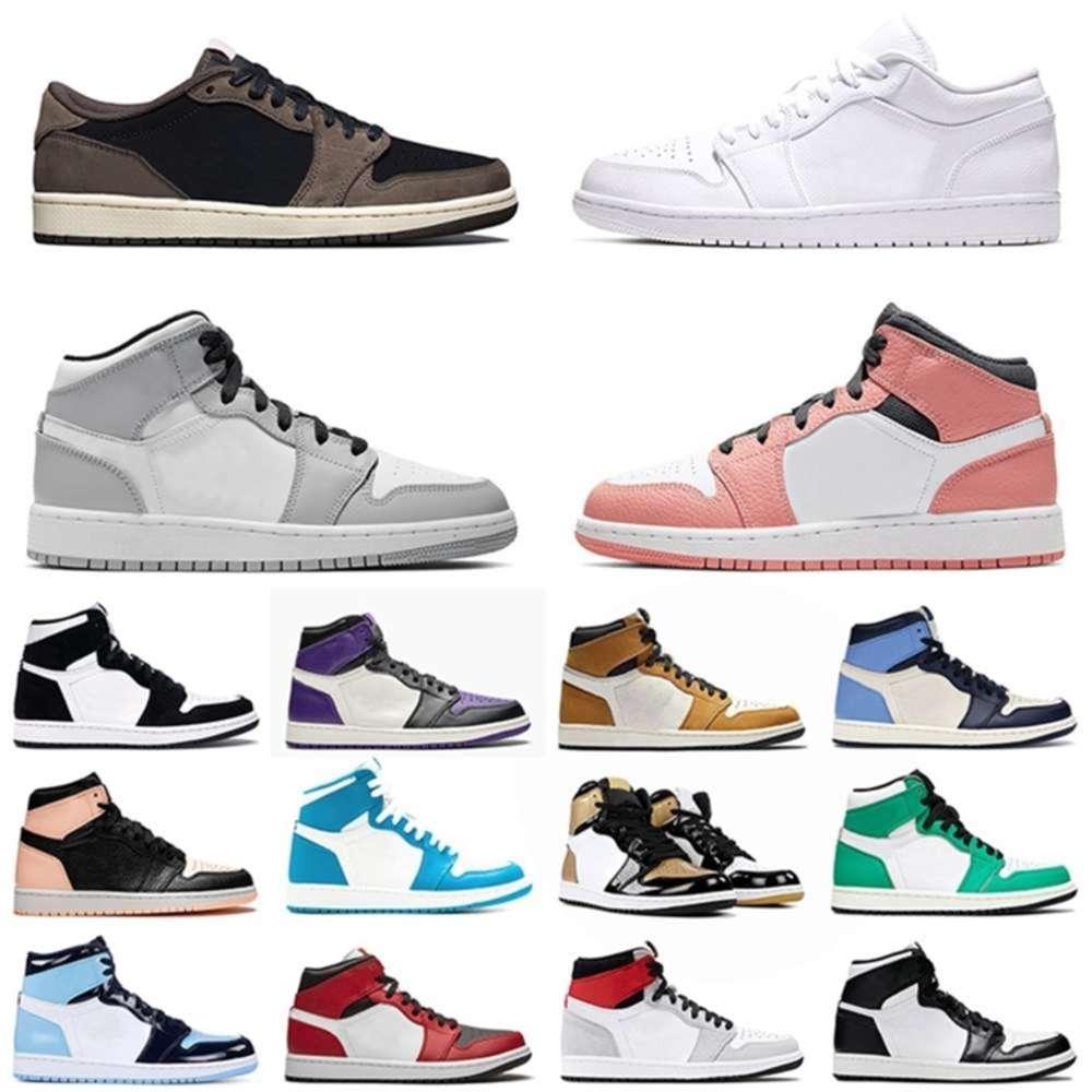 JUMPMAN 1 1s Sport Basketball Shoes 2021 MID Pink Quartz Light Smoke Grey Mens Womens Trainers Sneakers 36-46 brazil lesvago