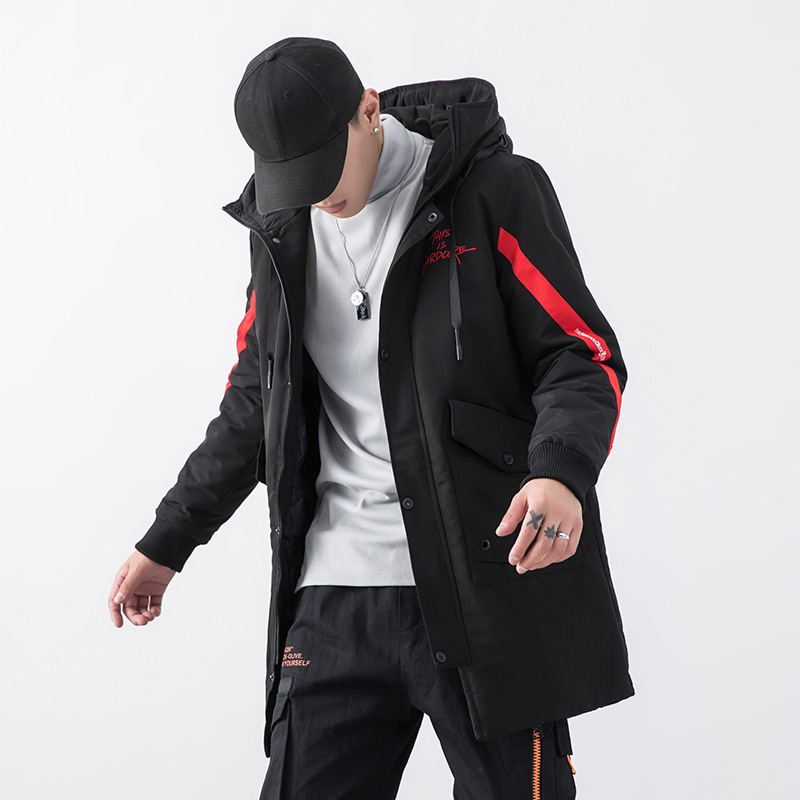 Mens Winter Jacket Hooded Long Down Jacket Embroidery Fashion Casual Outwear Warm Clothes Thicken Side Stripe doudoune homme