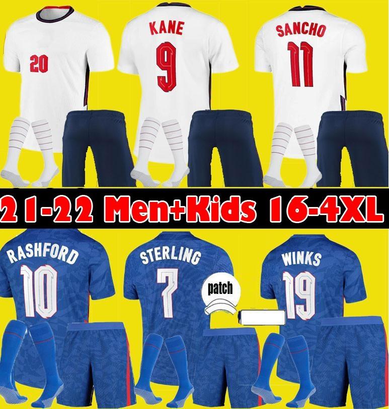 S-4XL Angleterre FODEN soccer jerseys 2021 KANE STERLING RASHFORD MOUNT LINGARD SANCHO 21 22 national Football shirt men + kids kit sets socks uniform