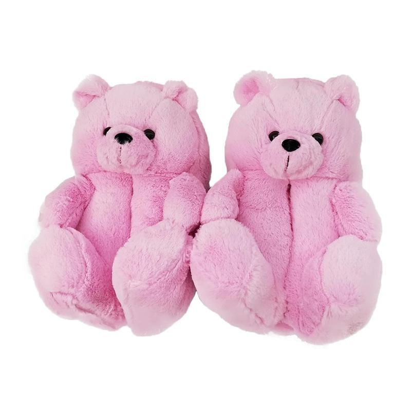18 Styles Plush Teddy Bear House Slippers Brown Women Home Indoor Soft Anti-slip Faux Fur Cute Fluffy Pink Slippers Women Winter Warm Shoe Party Favor