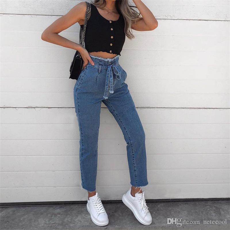 Sexy Bandage High Waist Women Jeans Skinny Slim Blue Black Vintage Denim Pants Zipper Burr Belt Thin Legs Girls Jeans Plus Wholesale 3XL