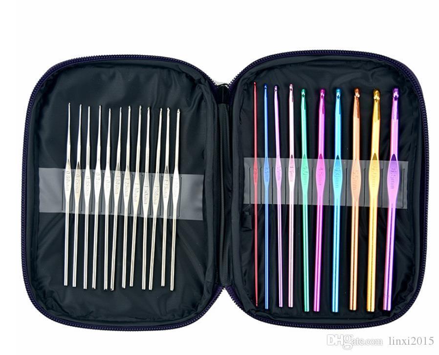 Multicolour Metal Aluminum Crochet Hook Knitting Kit Needles Set Weave Craft Yarn Stitches Needle Stitch SN4111