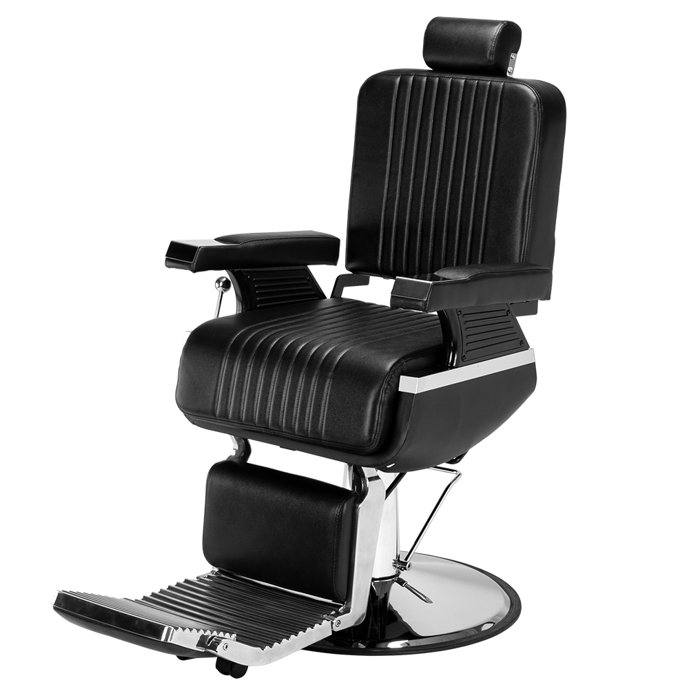 WACO Men's Hydraulic Recline Barber Chair, Salon Furniture Hair Cutting Styling Shampoo Waxing with footrest Disc for Beauty Shop - Black