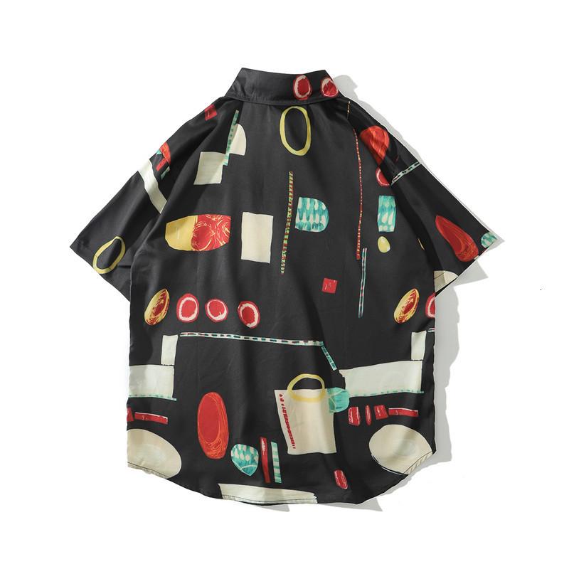 Black Full Printed Hawaiian Shirts Men Street Fashion Holiday Beach Men's Shirts Summer Shirts for Man