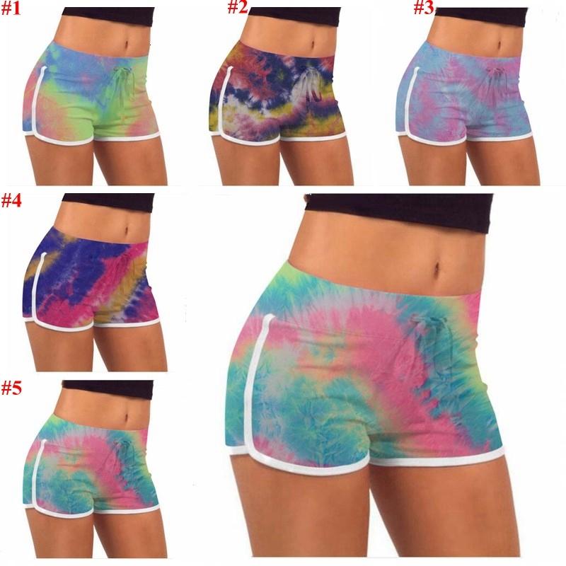 Tie-Dye Shorts Summer Stretch Lift Buttock Hot Pants Girls Slim Casual Pants High Waist Fitness Leggings Yoga Shorts Printed Workout B7570
