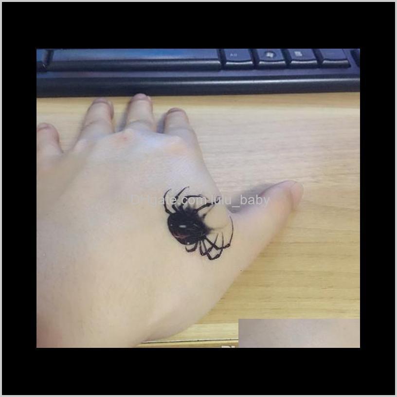 3d waterproof temporary tattoo stickers black spider designs flash temporary tatoo fake 1sheet small neck tattoos body art