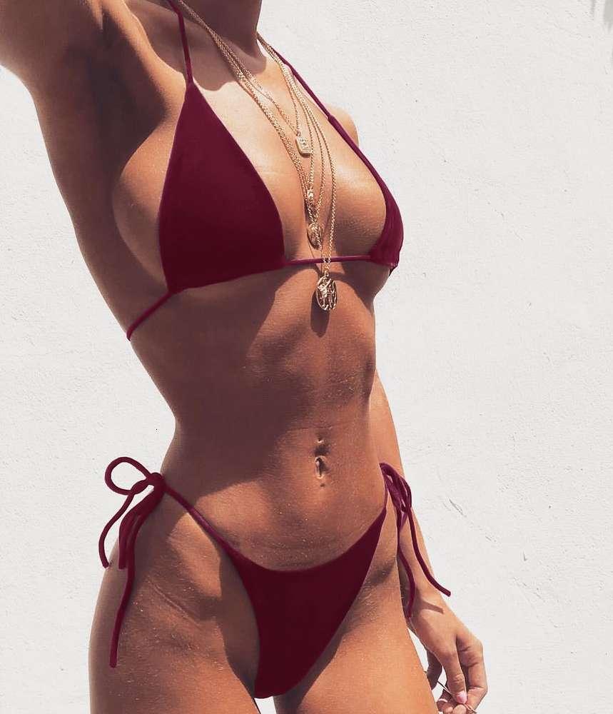 2021030404 Micro Sexy Swimsuit Women Push Up Bikini Set Bandage Swimwear Biquini Halter Brazilian Bather Bathing Suit Swim Wear
