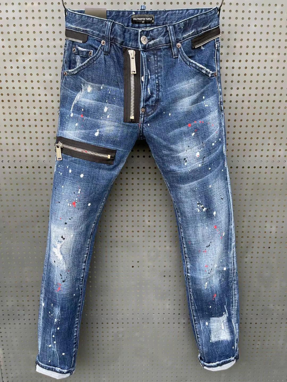 DSQ PHANTOM TURTLE Classic Fashion Man Jeans Hip Hop Rock Moto Mens Casual Design Ripped Jeans Distressed Skinny Denim Biker DSQ Jeans 81249