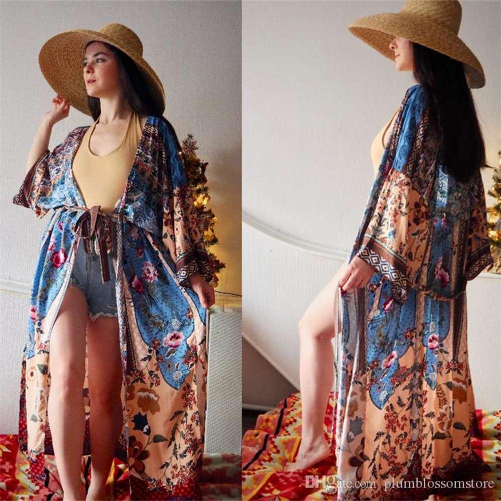 2020 Long Cotton Beach Dress Print Cover ups Women Swimwear Tunics for Beach Sarong Robe de Plage Bikini Cover up Vestido de Playa