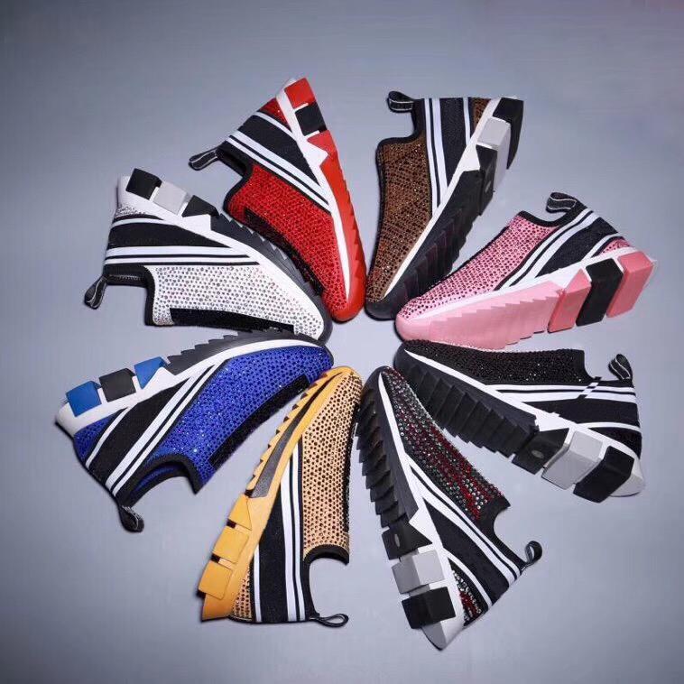 2021 designer Sorrento rhinestone crystal sneakers men's slip-on sneakers stretch mesh black white red glitter flat sneakers