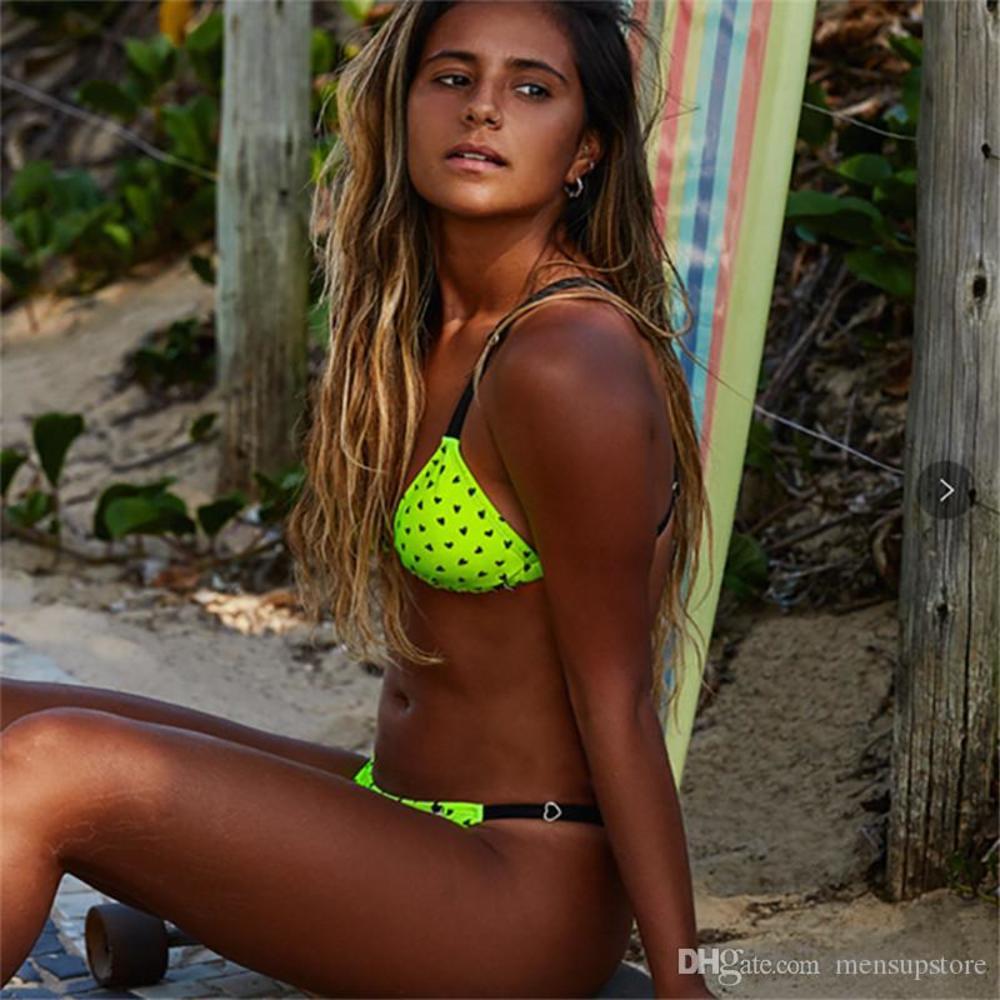 Bikini Summer Sesy Suit Beach Swimwear Female Cross Clothing Women Heart Printed