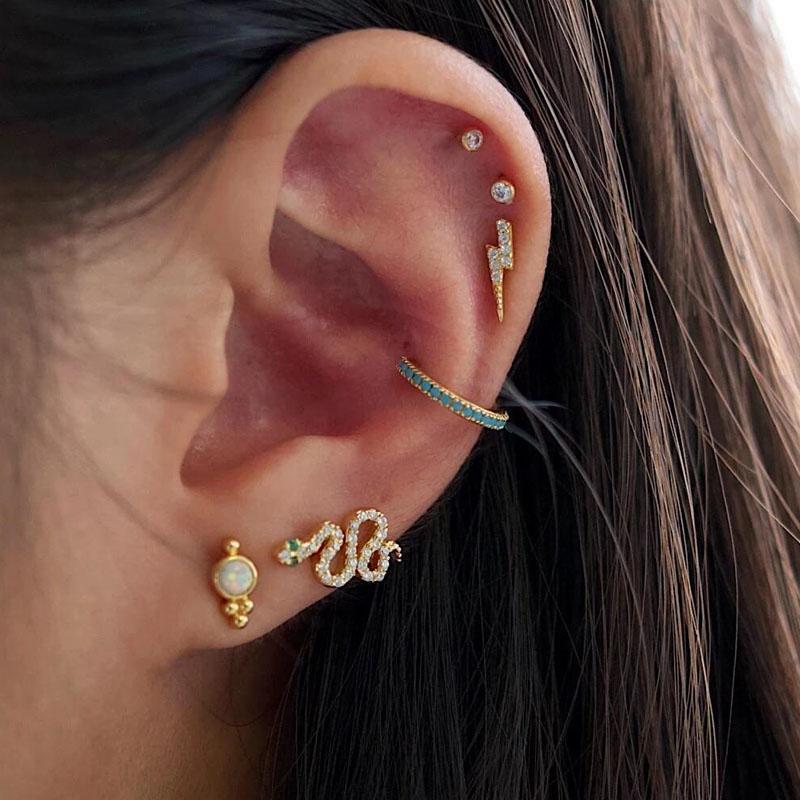 Cute Snake Cimber Earring Gold Plated Vermeil 925 Sterling Silver Pave White Green Cz Lovely Sweet Girl Dainty Earrings