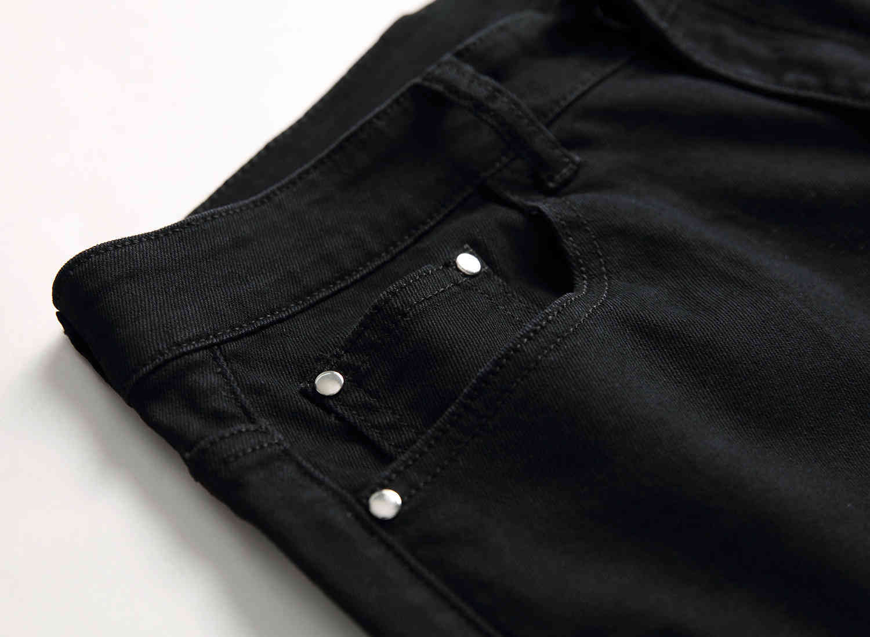 Skinny Mens Black Jeans Cool Men Ripped Hole Jeans Stretch Slim Fit Denim Biker Jeans Hip Hop Men Streetwear 1877#