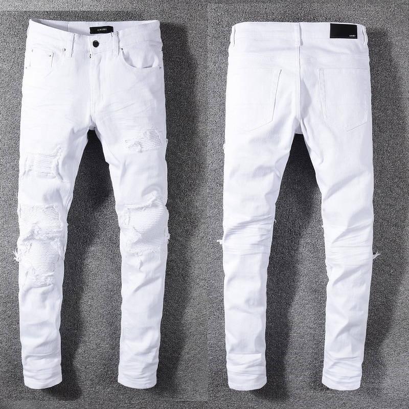 2021 New Arrivals Amiry Mens Luxury Designer Denim Jeans Holes Trousers Biker Pants Men's Clothing #592
