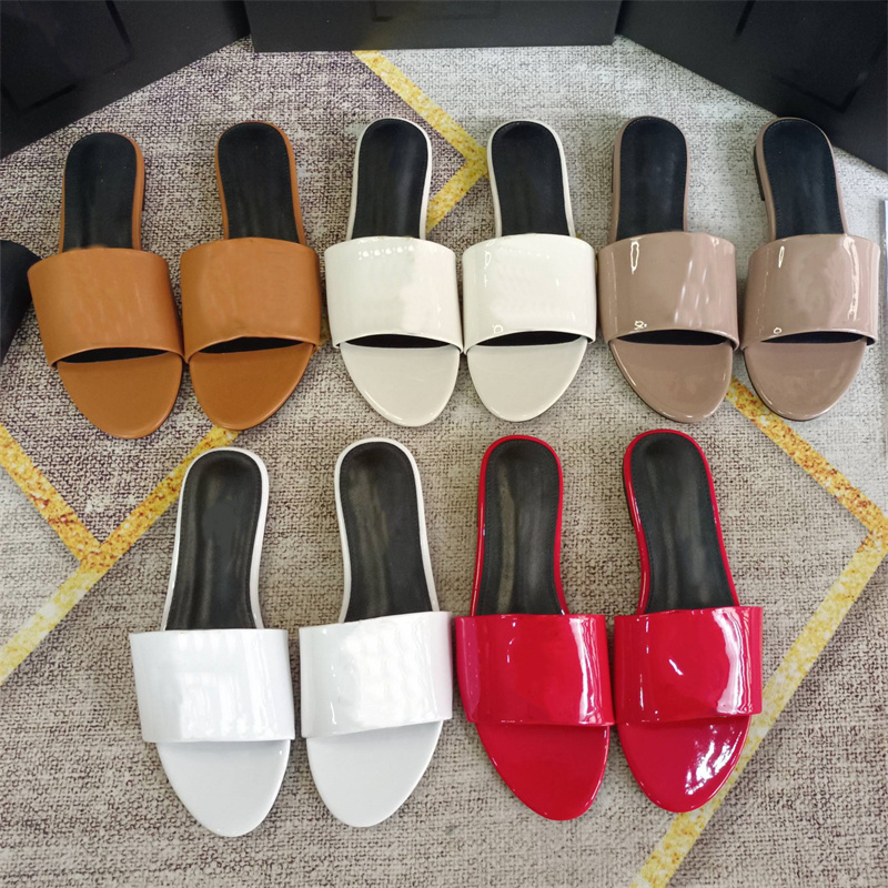 YS Fashion Designer Womens Sandals Slide Slippers Leather Metal Letter Flip Flops Luxury Rubber Sandal Jelly Casual Shoe Loafers Beach Shoes 35-42