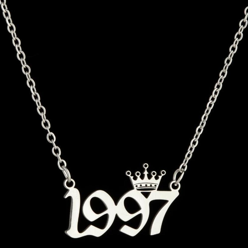 Personalized Birth Year Number Necklaces Custom Crown Initial Necklace Pendants For Women Girls Birthday Jewelry Special Year 1980-2019